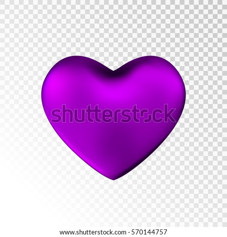 Violet Heart Isolated On Transparent Background Stock Vector