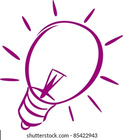 A violet icon of a light-bulb of a light-bulb.