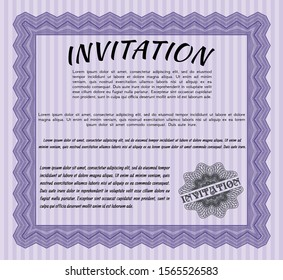 Violet Invitation. Artistry design. Vector illustration. With great quality guilloche pattern.