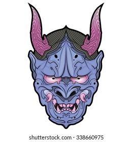 violet japanese demon mask