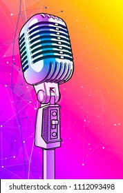 Violet microphone on a bright multi-colored background - vector image. A glossy metal microphone pink-blue is surrounded by a minimalistic digital sound wave