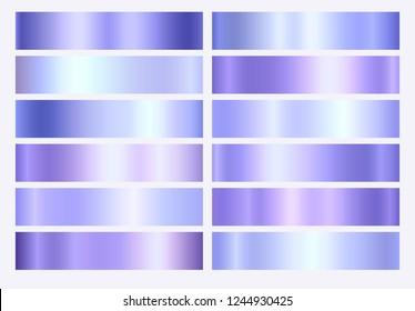 Violet, purple and blue foil texture gradation background set. Vector golden elegant, shiny and metalic gradient collection for violet border, frame, ribbon or label design.