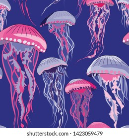 Violet and purple jellyfish seamless pattern. Vector illustration of jellyfish on blue background