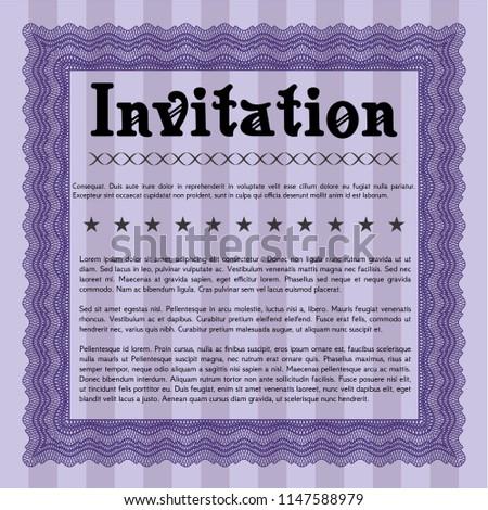 violet retro invitation template beauty design stock vector royalty