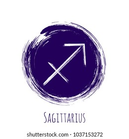 Violet rounfd Sagittarius horoscope icon, hand painted zodiac vector sign. Astrological icon isolated. Sagittarius astrology horoscope symbol clip art on white background.