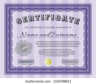 Violet Sample Certificate. With great quality guilloche pattern. Detailed. Perfect design.