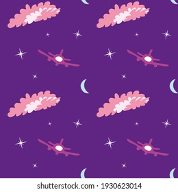 Violet seamless pattern with moon, stars, plane and clouds. Design for wallpaper and wrapping, fabric and textile. Vector illustration.
