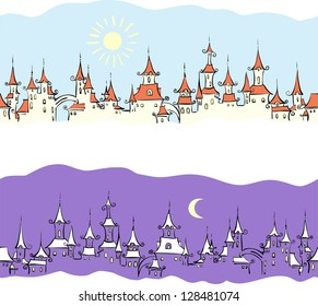 Violet seamless pattern with town