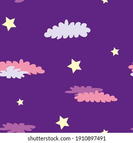 Violet seamless pattern with yellow stars and crimson clouds. Design for wallpaper and wrapping, fabric and textile. Vector illustration.