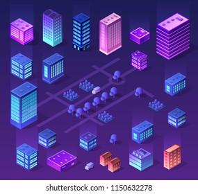 Violet set 3d futuristic isometric street neon design building on an smart city urban house of cityscape