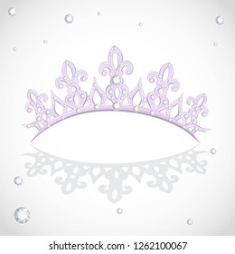 Violet shining tiara on a white backround