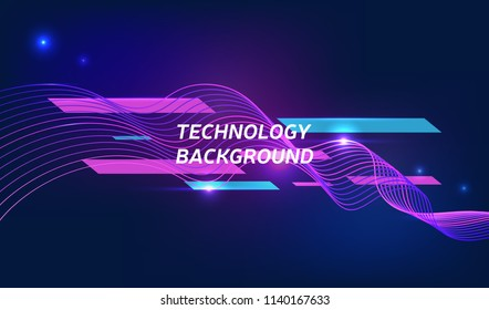 Violet technology background with abstract digital wave. Modern cosmic illustration, vector poster, eps10