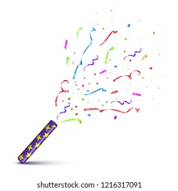 Violet tube with exploding serpentine isolated on white background. Vector holiday design element