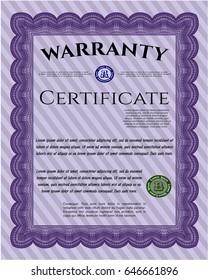 Violet Vintage Warranty template. Easy to print. Cordial design. Detailed.