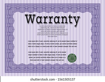 Violet Warranty template. Lovely design. With complex linear background. Detailed.