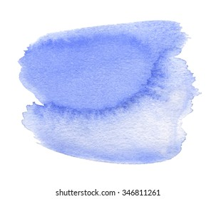 Violet watercolor brush painted smudges isolated paper texture spot on white background. Water abstract hand drawn artistic design element for banner, print, template, cover, decoration, sticker