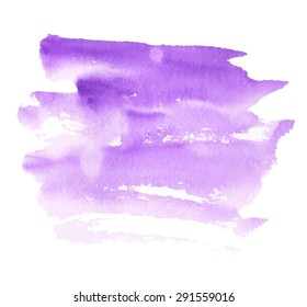 Violet watercolor hand drawn paper texture isolated striped spot on white background. Wet brush painted smudges and strokes abstract vector illustration. Design water element for banner, print, web