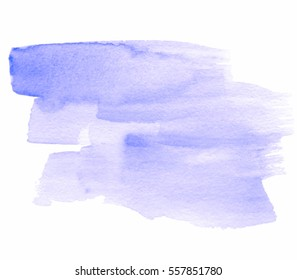Violet watercolor hand drawn vector isolated stain on white background. Abstract aquarelle brush paint paper texture grunge cold color element for text design, blank, wallpaper