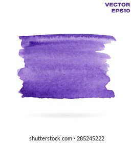 Violet watercolor hand painted shape design element. Bright abstract background for your text. High-resolution trace. Vector Illustration EPS10.