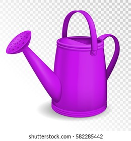 Violet watering can isolated on transparent background. Vector illustration.