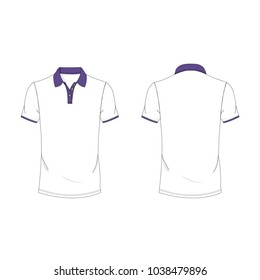 Violet and white polo T-shirt template using for fashion cloth design and assessorie for designer to make mock up or blue print in copany.
