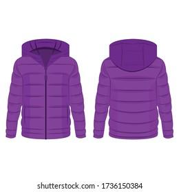 Violet Winterabziehjacke mit Kapuzenvektor auf weißem Hintergrund