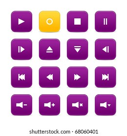 Violet and yellow 16 media control web 2.0 buttons. Rounded square shapes with shadow on white