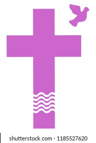 Violett christian cross with dove and water