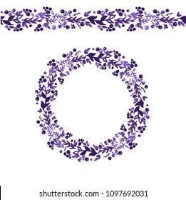 Violett vector floral wedding invite wreath and seamless garland