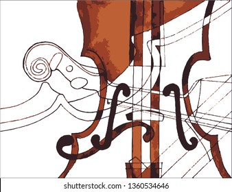 Violin. Astract music background - Vector