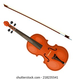 Violin and bow isolated on white background. Vector illustration.