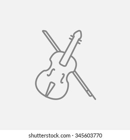 Violin with bow line icon for web, mobile and infographics. Vector dark grey icon isolated on light grey background.