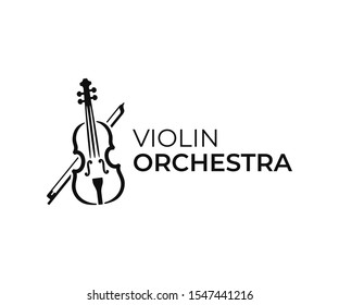 Violin and bow logo design. Fiddle vector design. Music instrument logotype