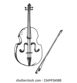 violin and bow musical instrument object.