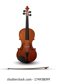 Violin and bow over white background