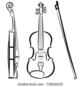 Violin with a bow painted in black lines. Kind of violin straight and side. Black and white drawing.