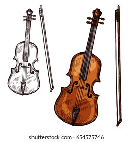 Violin with bow string music instrument. Vector sketch symbol of musical bowing or plucking type of viola fiddle or contrabass and cello for orchestra concert or folk and jazz music festival design