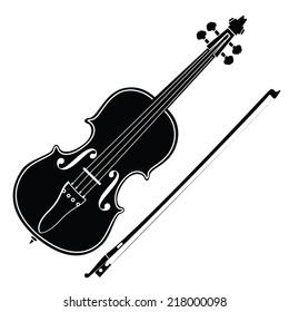 Violin and Bow- Vector