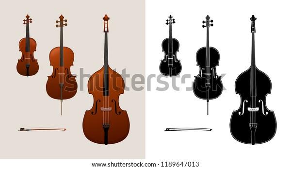 Violin Cello Violoncello Double Bass Colored Stock Vector