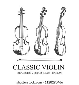 Violin. Classic Violin and bow hand drawn vector illustration. Orchestra violin sketch. Vintage musical instrument drawing.