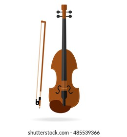 Violin, Classical violin, violin icon, bow, music. Flat design.