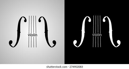 Violin, classical music. vector logo design