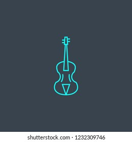 violin concept blue line icon. Simple thin element on dark background. violin concept outline symbol design from Music set. Can be used for web and mobile UI/UX
