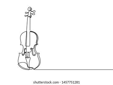Violin continuous line drawing minimalist design