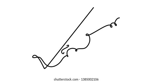 Violin continuous one line drawing minimalism design on white background