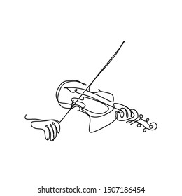 Violin continuous single line drawing vector music instrument