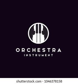 Violin Fiddle Cello Piano Double Bass Music Instrument logo design