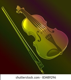 Violin with fiddle stick. glowing object