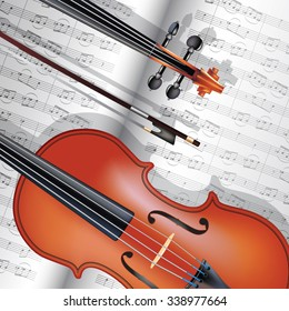 Violin with fiddle stick and musical notes. Vector illustration