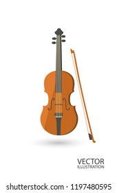 Violin flat style isolated on a white background vector illustration